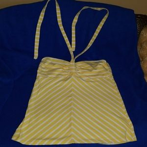 Yellow striped strapless top